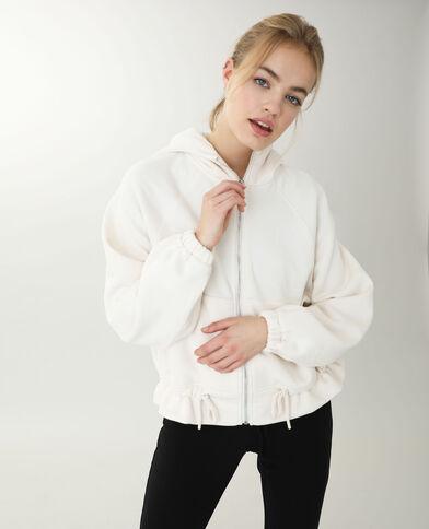 Giacca con cappuccio bianco sporco