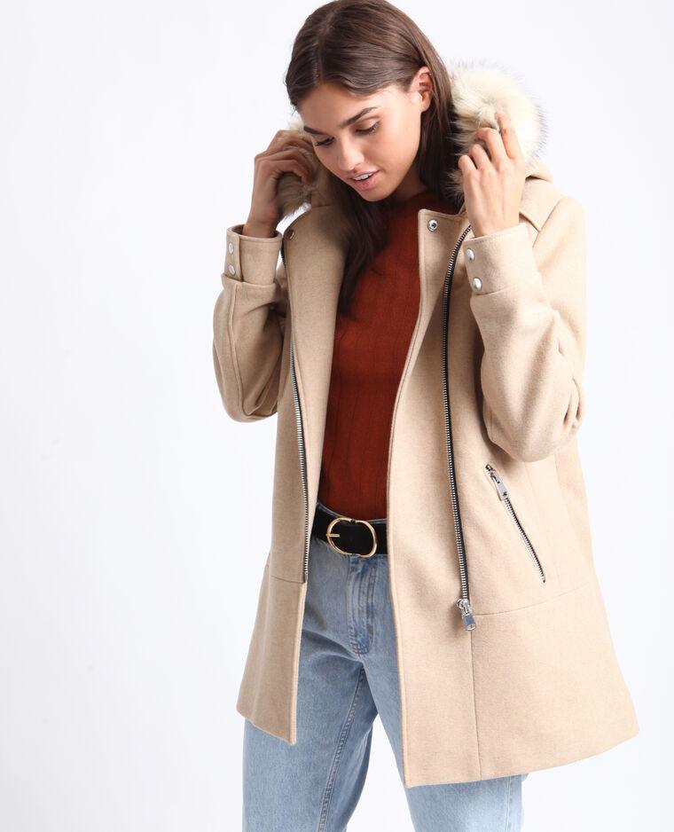 Cappotto di media lunghezza con cappuccio beige
