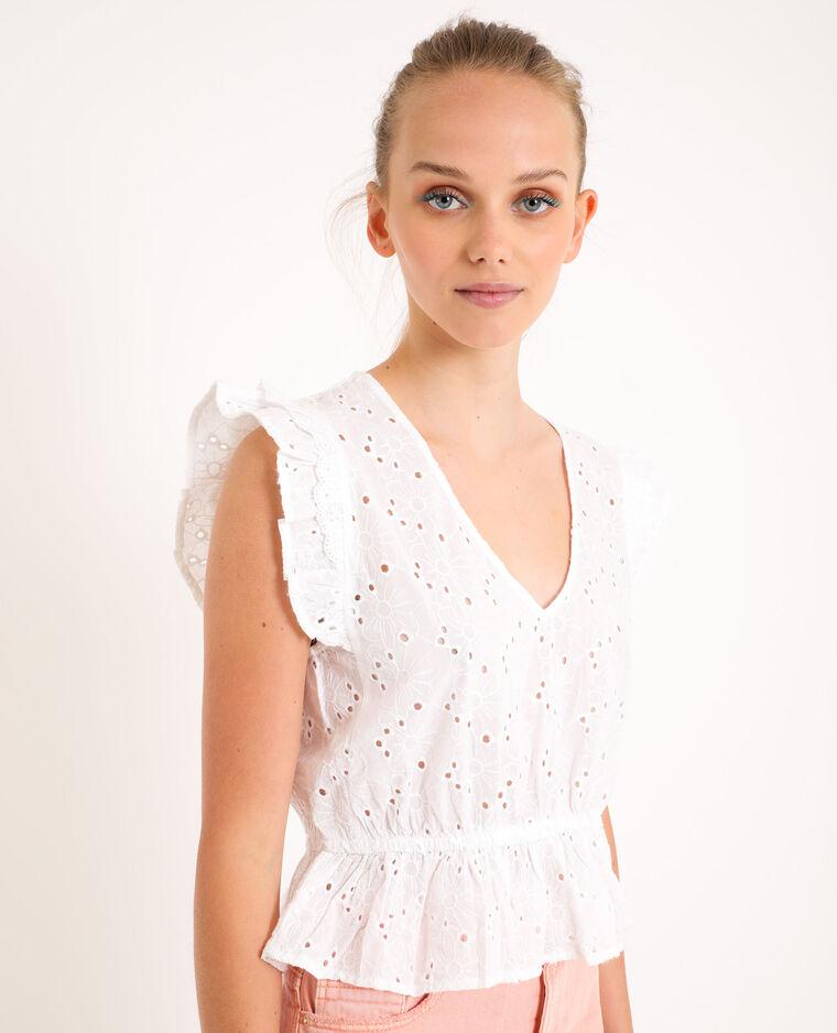 Camicia con ricamo inglese bianco