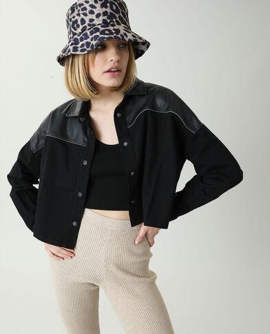 Camicia oversize di jeans e similpelle nero
