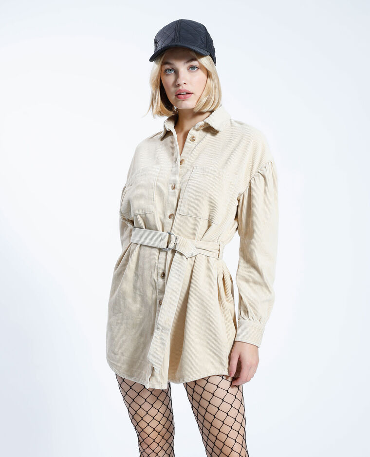 Giacca camicia in velluto con cintura beige - Pimkie