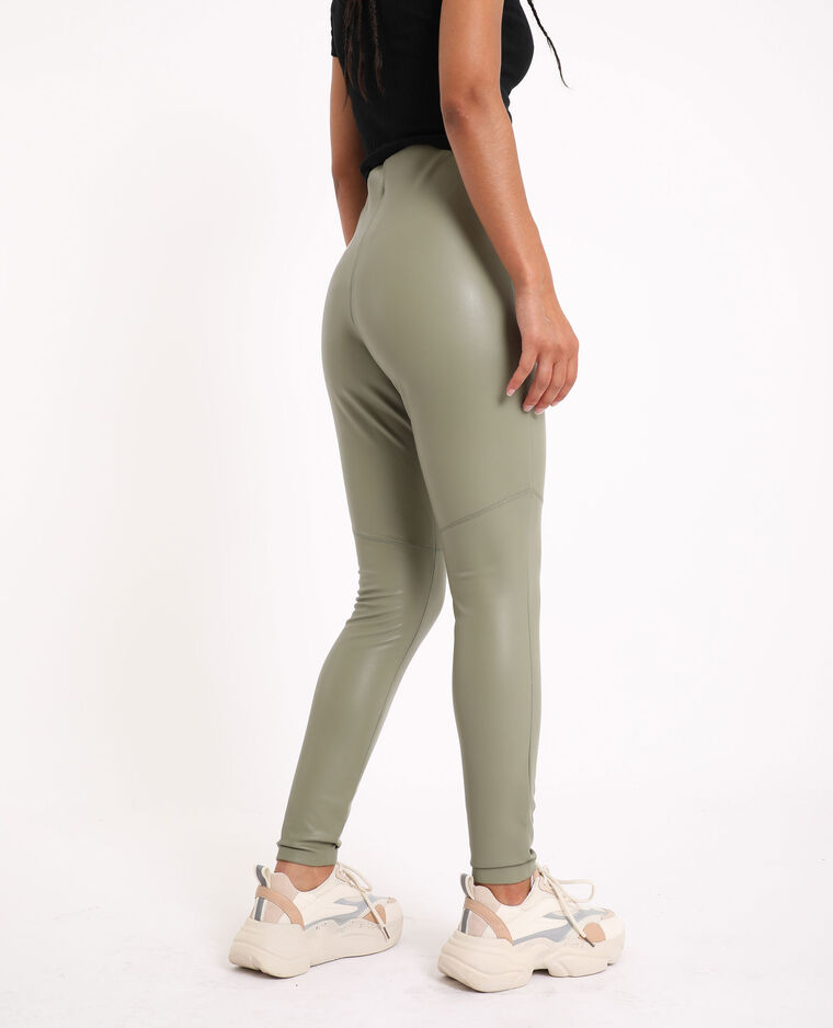 Leggings in similpelle kaki
