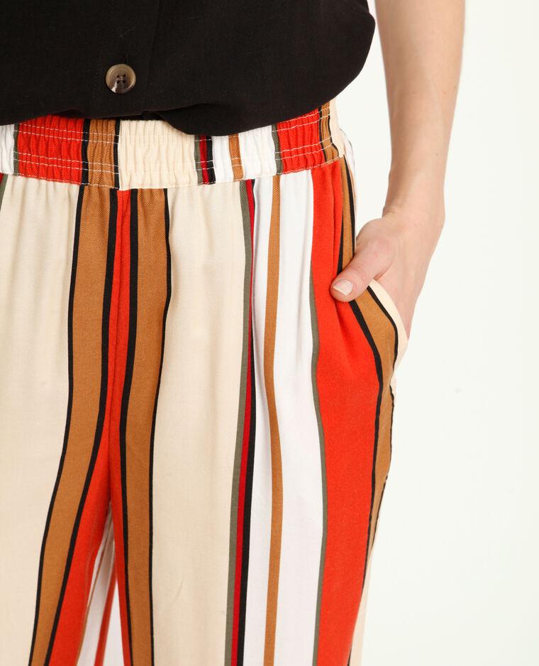 Pantalone morbido a righe cammello