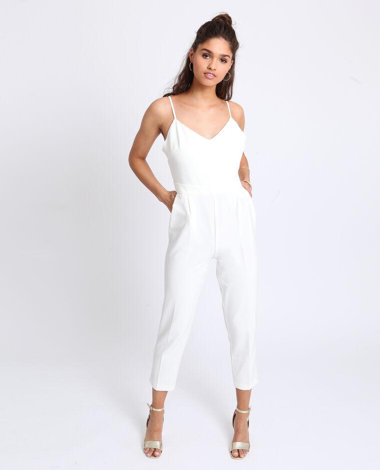 Abito pantalone con spalline sottili bianco