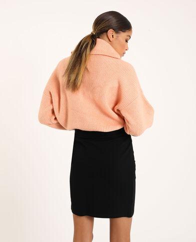 Pull con collo ampio e zip rosa antico