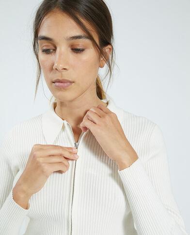 Cardigan con zip a coste sottili bianco sporco - Pimkie