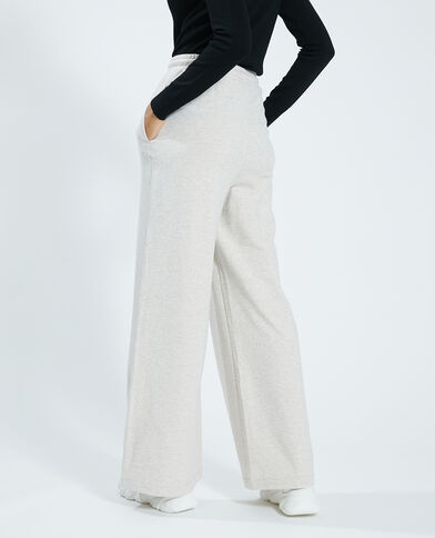 Pantalone largo in cotone felpato beige - Pimkie