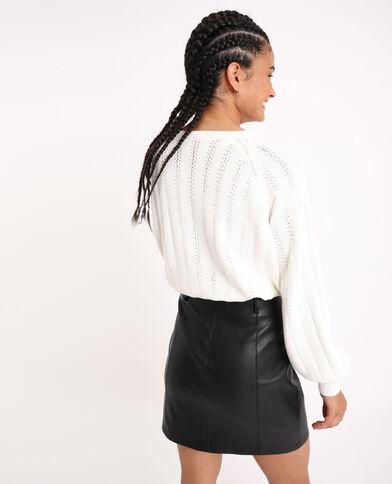 Cardigan in maglia traforata bianco sporco