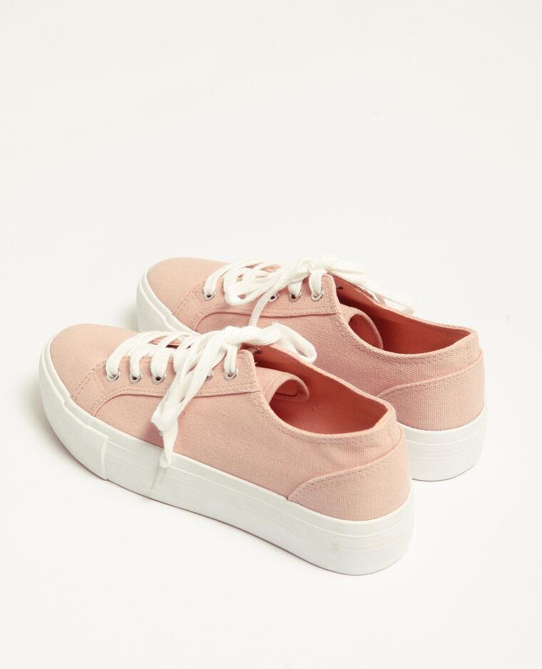 Scarpe sportive in tela plateau rosa cipria