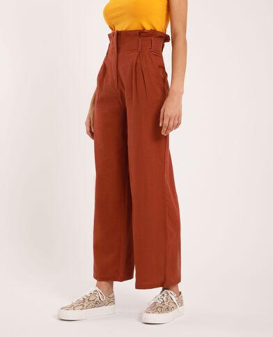 Pantalone largo beige cipria