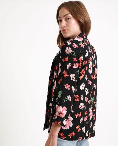 Giacca a fiori nero + rojo