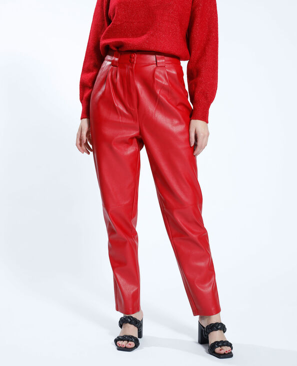 Pantalone mom in similpelle rosso - Pimkie