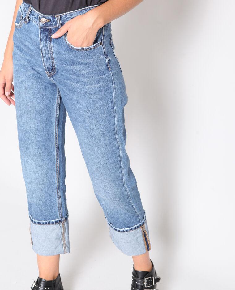 Jeans dritto con risvolto blu scuro