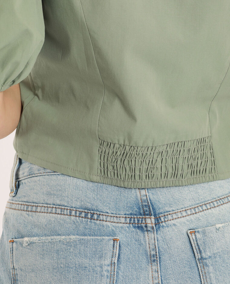 Camicia con maniche a palloncino verdeg