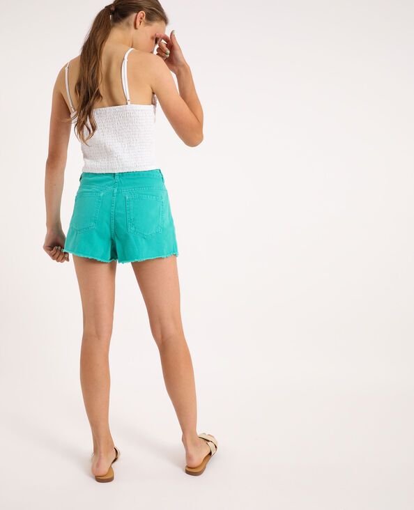 Short di jeans destroy verde acqua