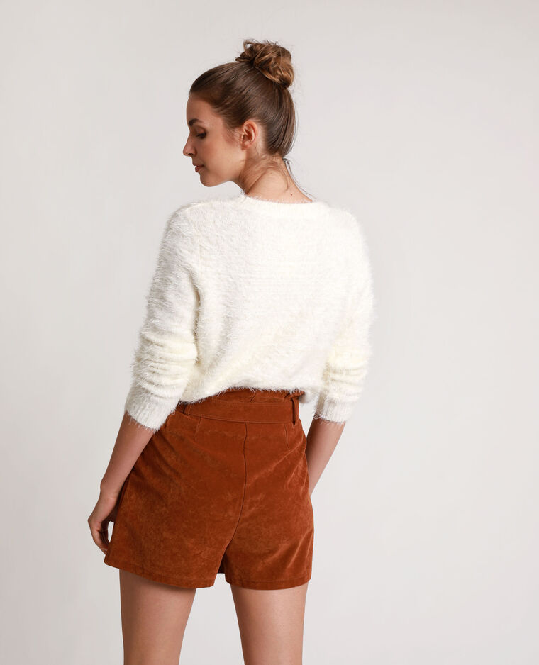 Pull fluffy bianco sporco