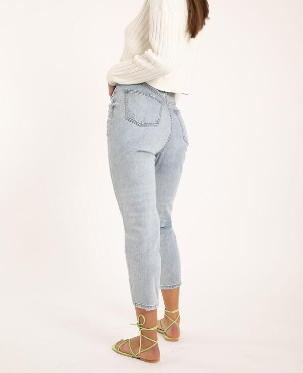 Jeans mom con perle blu chiaro