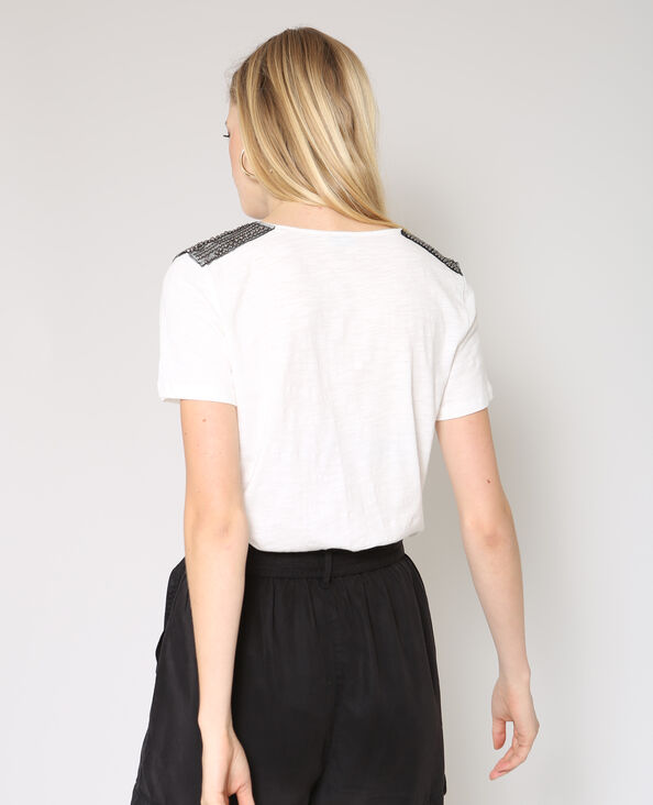 T-shirt a perle bianco sporco