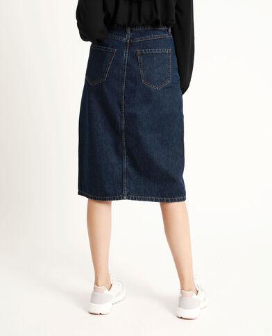 Gonna midi in jeans blu grezzo