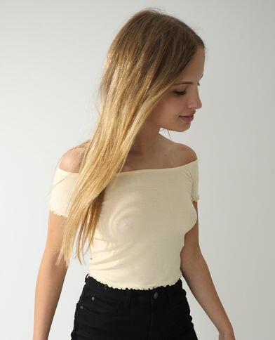 T-shirt a coste giallo pallido - Pimkie