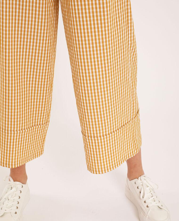 Pantalone largo a quadri giallo