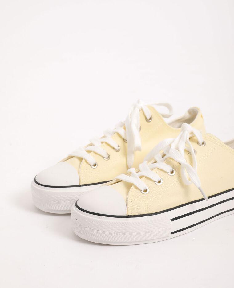 Scarpe da ginnastica in tela giallo pallido