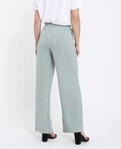 Pantalone 30% lino verde acqua