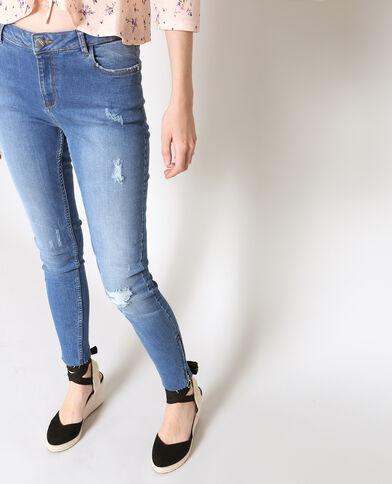 Jeans skinny con zip blu scuro