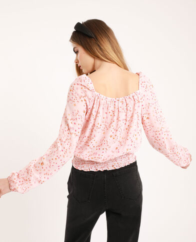 Blusa morbida a fiori rosa