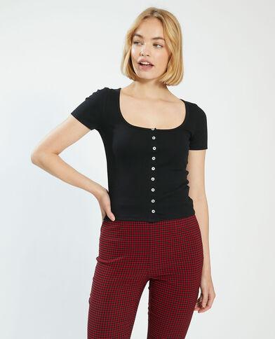 T-shirt basic con bottoni nero - Pimkie