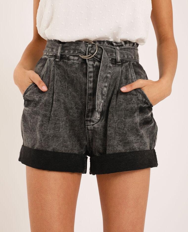 Short di jeans acid wash grigio