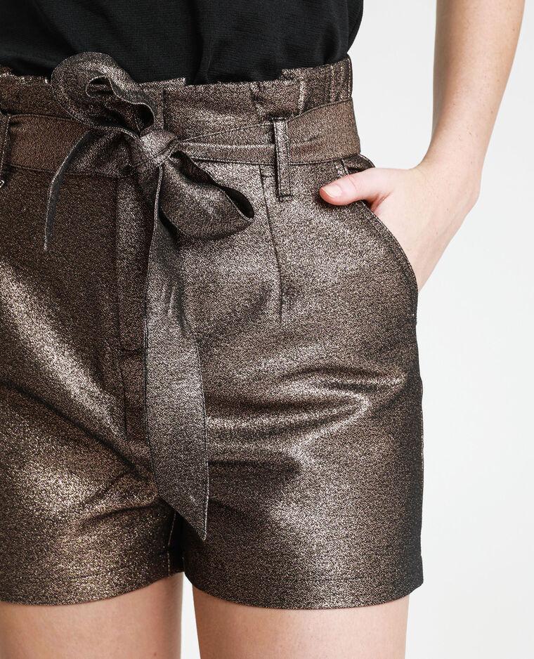 Short con paillettes argento