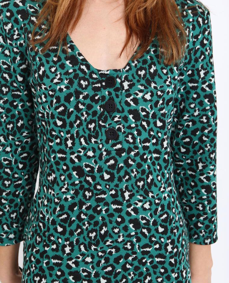 Abito midi leopardato verde