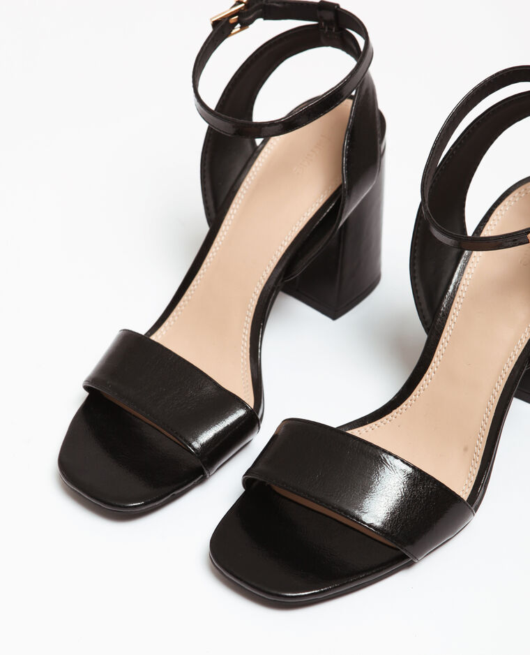 Sandali con tacco largo nero