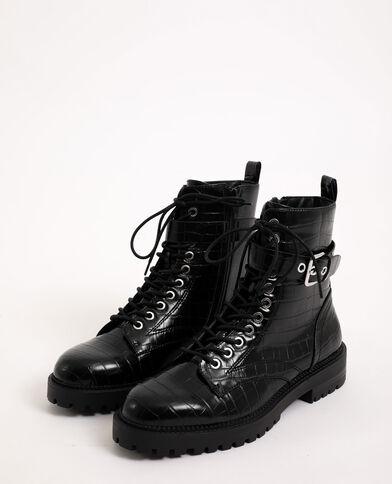 Boots rock in finta pelle nero