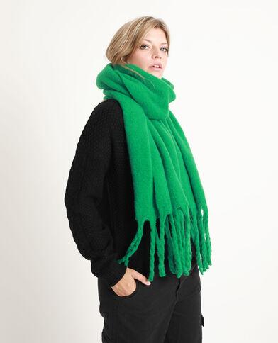 Sciarpa spessa con grandi frange verde