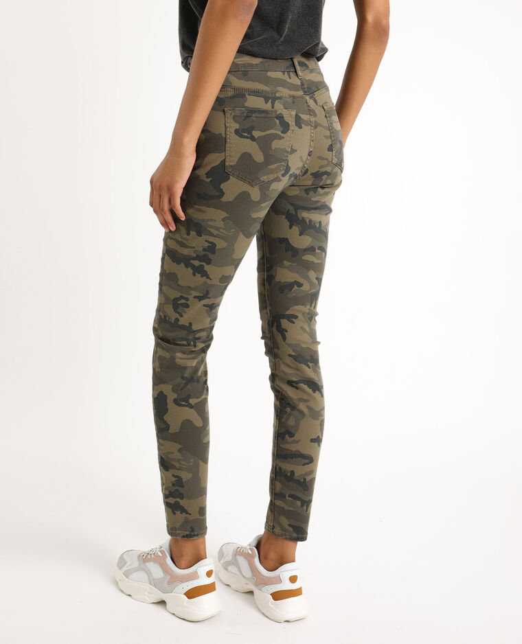 Pantalone skinny mimetico verde