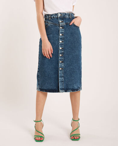 Gonna midi di jeans blu denim