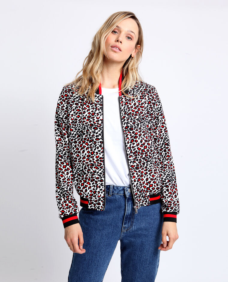 Bomber morbido leopardato bianco