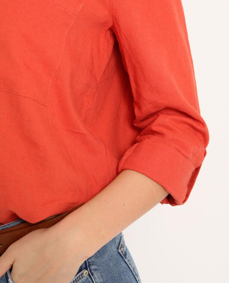 Camicia 55% lino arancio