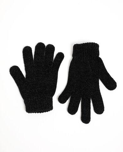 Guanti maglia ciniglia nero