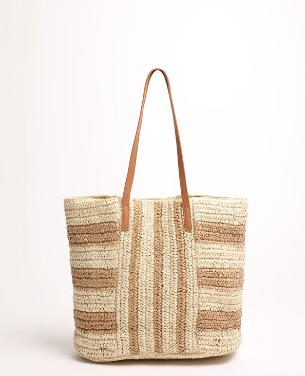 Borsa shopping in rafia beige corda