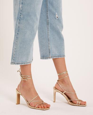 Sandali con tacco dorato