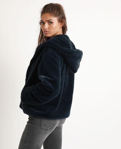 Cappotto corto in pelliccia ecologica blu