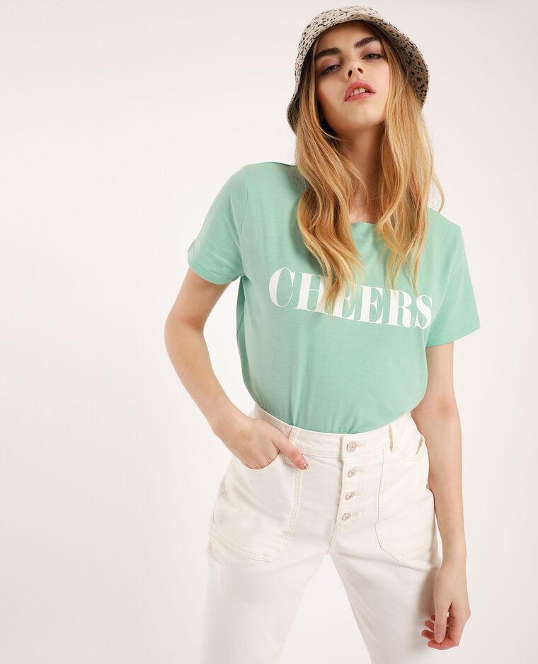T-shirt con scritta verde menta