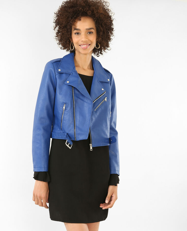 giacca similpelle blu
