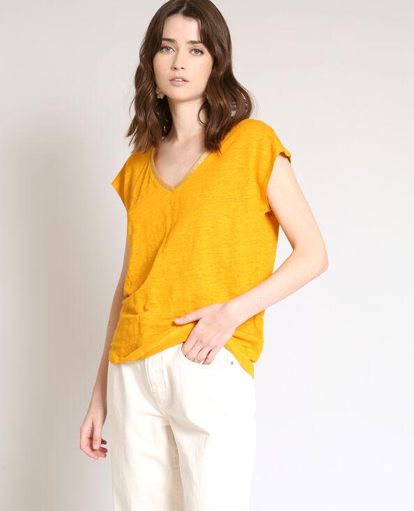 T-shirt in lino giallo
