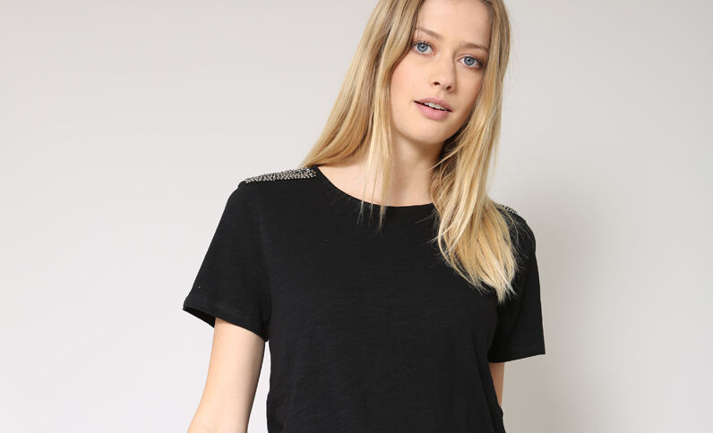 T-shirt a perle nero