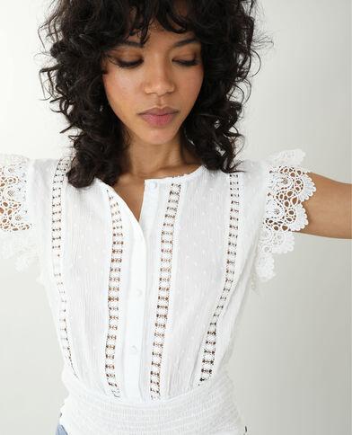 Camicia ricamata bianco sporco