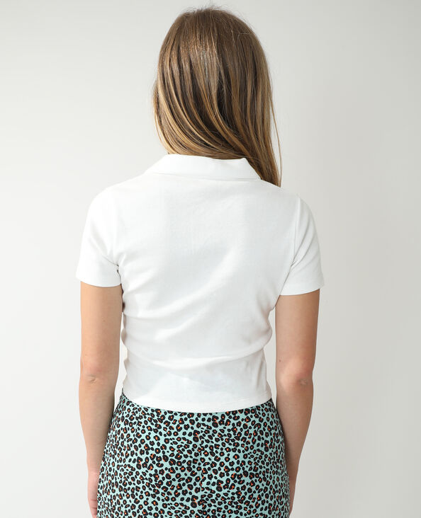 Polo con zip bianco - Pimkie